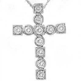 1ct Religious Diamond Cross Fancy 14K New Pendant White Gold (H/I, I1)