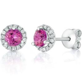 1ct Pink Topaz & Diamond Halo Studs 18K White Gold (F, VS)