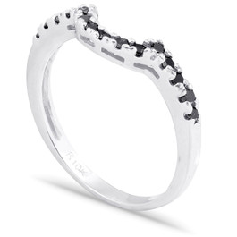 1/4ct Black Diamond Curved Ring 14k White Gold (Black, )
