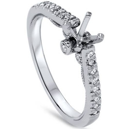 1/6ct Diamond Engagement Setting 14K White Gold (G/H, SI1-SI2)