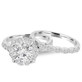 2.00CT Diamond Vintage Halo Engagement Ring 14K White Gold Wedding Ring Set (H/I, I1)