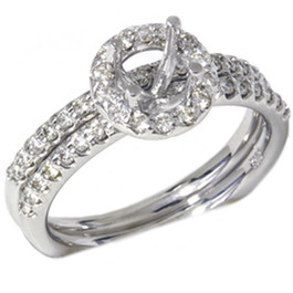 1/2ct Diamond Halo Mount Engagement Matching Wedding Ring Setting 14k White Gold (G, VS)