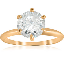 2 1/2 ct Round Solitaire Diamond Engagement Ring 14k Yellow Gold Enhanced (G/H, I1-I2)