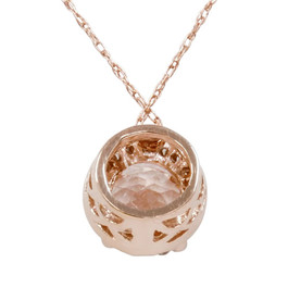 1 7/8ct Morganite & Diamond Halo Pendant 14K Rose Gold (G/H, I2-I3)