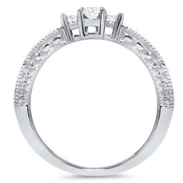 1/3ct Curved Diamond Vintage Ring 14K White Gold (H/I, I1-I2)