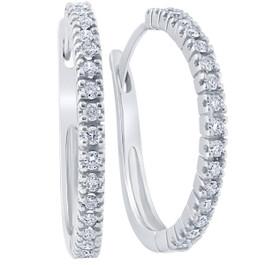 1/2ct Diamond Hoops 10K White Gold (G/H, )
