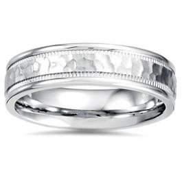5mm Hammered Flat Wedding Band 14K White Gold