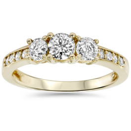 1ct 3 Stone Diamond Engagement Ring 14K Yellow Gold (J, I2-I3)