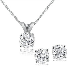 1ct Diamond Solitaire Necklace & Studs Set 14K White Gold (Not Enhanced) (I-J, I2-I3)