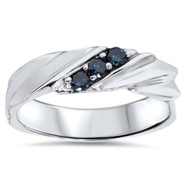 1/10ct Blue Diamond Mens Three Stone Ring 14K White Gold (Blue, I1)
