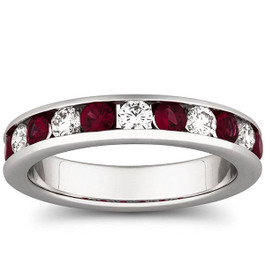 1ct Ruby & Diamond Channel Set Wedding Ring 14K White Gold (H/I, I1-I2)