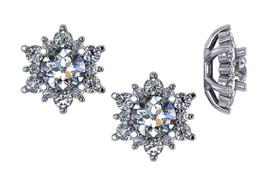 7/8ct Diamond Earring Studs Jackets 14K White Gold Fits 3/4ct Diamonds (5.5-6mm) (G-H, I1)