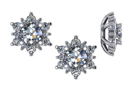 7/8ct Diamond Earring Studs Jackets 14K White Gold Fits 3/4ct Diamonds (5.5-6mm) (G-H, I1)