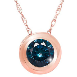 3/8ct Blue Diamond Pendant 14K Rose Gold (Blue, I1)