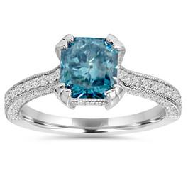 3ct Blue & White Radiant Cut Diamond Engagement Ring 14K White Gold (H/I, I1)