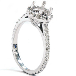 1/2ct 14K White Gold Diamond Engagement Semi Mount Ring (G, SI)