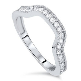1/3ct Diamond Curved Ring 14K White Gold (H/I, I1-I2)