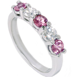 1 1/10ct Pink Sapphire & Diamond Ring 14K White Gold (G/H, SI)