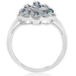 5/8ct Vintage Blue Diamond Ring 14K White Gold (Blue, I2)