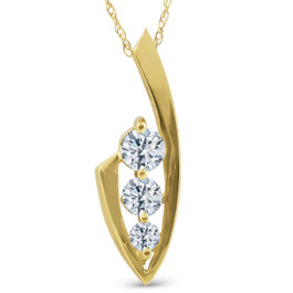 1/2ct Three Stone Diamond Yellow Gold Pendant Necklace (G/H, I1)