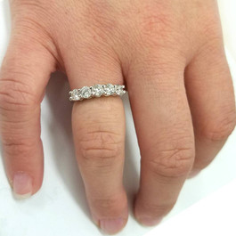 1 1/4ct Five Stone Diamond Wedding Ring 14K White Gold (G, VS)