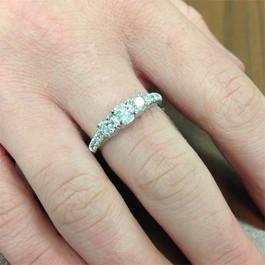 1 1/6ct 3 Stone Genuine Diamond Engagement Ring 14K White Gold (G/H, I1-I2)