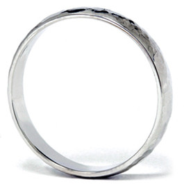 14K White Gold 4mm Hammered Wedding Band Ring New