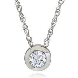 3/8ct Bezel Solitaire Lab Created Diamond Pendant 14K White Gold (F, SI1)