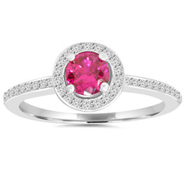 3/4ct Ruby Halo Diamond Pave Enagement Ring 14K White Gold (G/H, I1-I2)