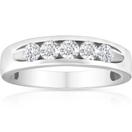 1/2ct Diamond Mens Wedding Ring Channel Set High Polished Band 14K White Gold (G/H, I1)