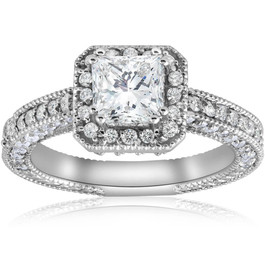 2ct Vintage Princess Cut Diamond Halo Engagement Ring 14K White Gold (G/H, I1-I2)