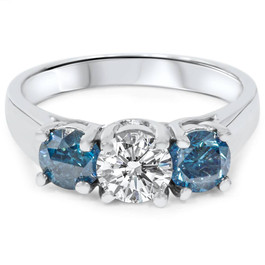 1 3/4ct Blue & White Diamond Three Stone Engagement 14K White Gold Ring (G/H, I1)