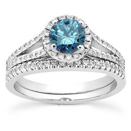 1ct Split Shank Blue Diamond Ring Set 14K White Gold (G/H, I1-I2)