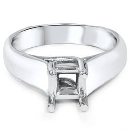 Solitaire Cathedral Ring 14K White Gold