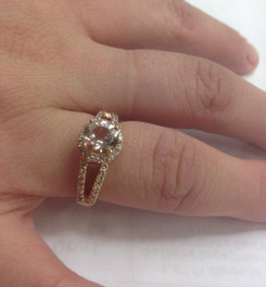 1.65CT Morganite & Diamond Split Shank Halo Ring 14K Rose Gold (H/I, I1-I2)