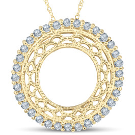 1/2ct Vintage Diamond Circle Pendant 14K Yellow Gold (G/H, I1)