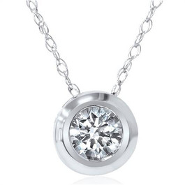1/6ct Solitaire Real Bezel 14K Diamond Pendant Necklace (G, SI)