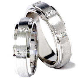 His Hers Brushed Diamond Wedding Ring White Gold Set (G/H, SI1)