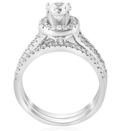 1ct Halo Diamond Engagement Ring Set Split Shank Bridal Wedding 14K White Gold (G/H, I1)