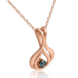 "Blue Diamond Solitaire Pendant & Chain 14k Rose Gold 5/8"" Tall (Blue, I1)"