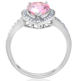 4 1/10ct Pink Tourmaline & Diamond Halo Ring 14K White Gold (G/H, SI)