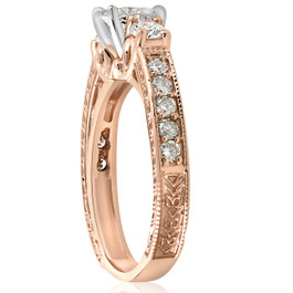 1ct Vintage Diamond 3 stone Engagememt Ring 14K Rose Gold (G/H, I1-I2)