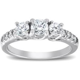 1 1/4ct Three Stone Lab Created Diamond Engagement Ring 14K White Gold (F, VS)