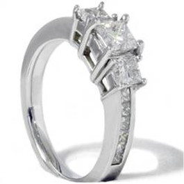 Princess Cut Diamond Engagement Ring 3-Stone 1 1/2ct 14k White Gold (H/I, I1)