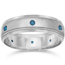 Blue Diamond Mens Wedding Ring 10k White Gold (Blue, I1-I2)