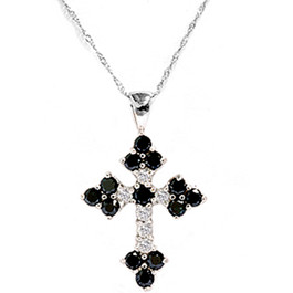 1 3/4ct Black & White Diamond Cross Pendant White Gold (G/H, I1)