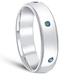 Mens Blue Diamond Wedding Ring 10K White Gold (Blue, SI1-SI2)