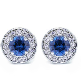 5/8ct Halo Diamond Blue Sapphire Studs 14K White Gold Screw Backs (G/H, I1)