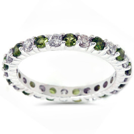 1 1/2ct Peridot & Diamond Eternity Ring 14K White Gold (G/H, I1)
