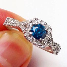 1ct Blue Diamond Engagement Ring 14K White Gold (G/H, I1-I2)